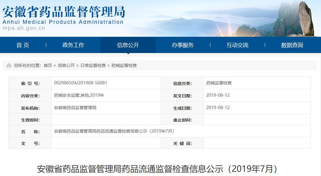 安徽省公示药品流通监督检查信息 1139家药店被处罚